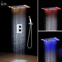 Роскошные Нержавеющаясталь термостатический вставлять Дождь душ кран настенный LED Радуга Цвет Дистанционное управление с Handshower