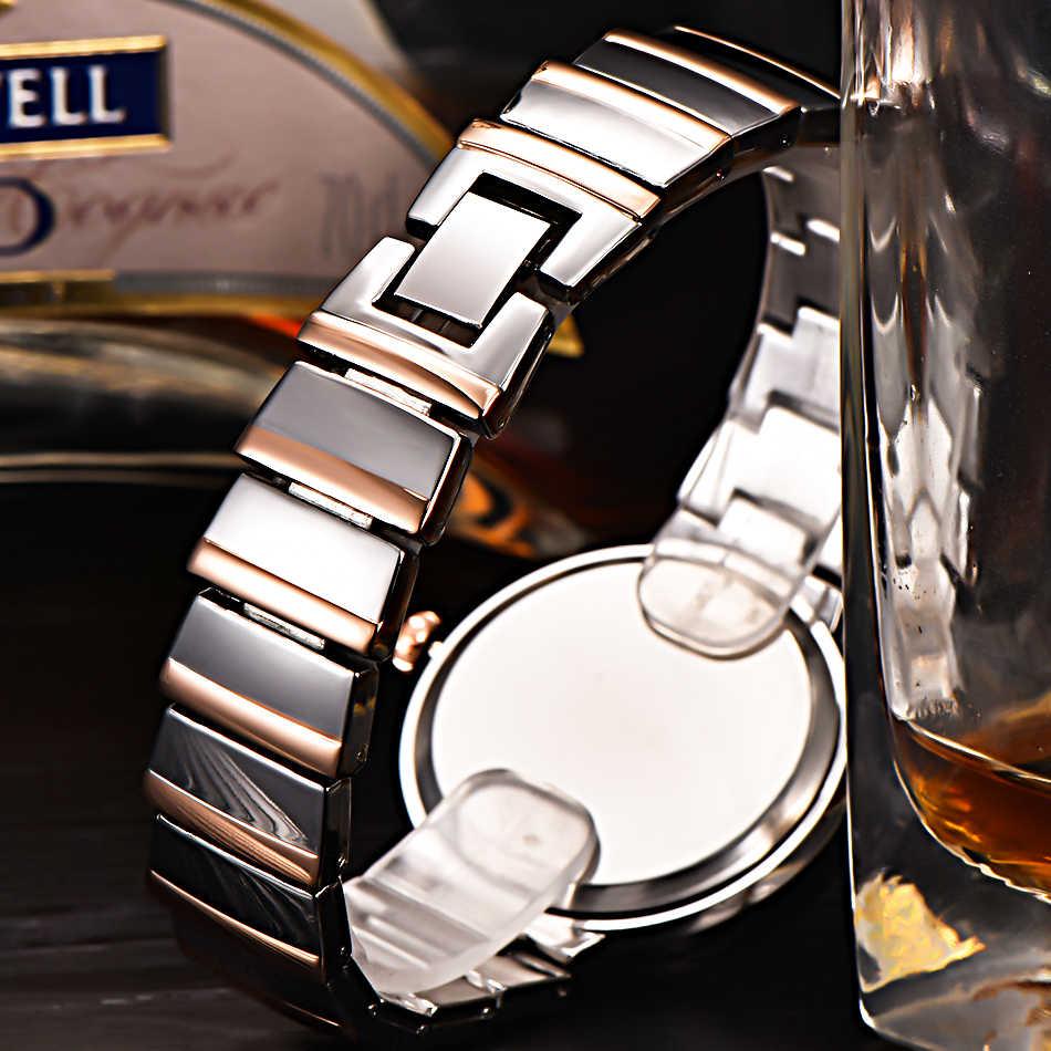 Mulheres rosa ouro moda relógio de luxo aço inoxidável completa casual quartzo relógios senhoras meninas data marca xinew original