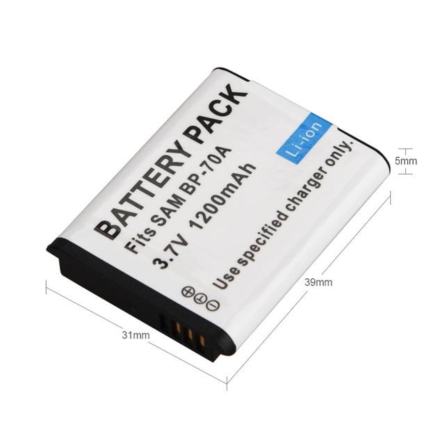 1 cái 1200 mAh BP-70A BP 70A BP70A Sạc Pin Cho Máy Ảnh Samsung ES65 ES70 TL105 TL110 PL100 Máy Ảnh SLB-70A pin
