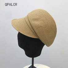 QPALCR 2019 Fashion Summer Sun Hats For Women Berets Sunscreen Straw Hat College Style Grass Pumpkin Cap Casual Solid Ladies Hat