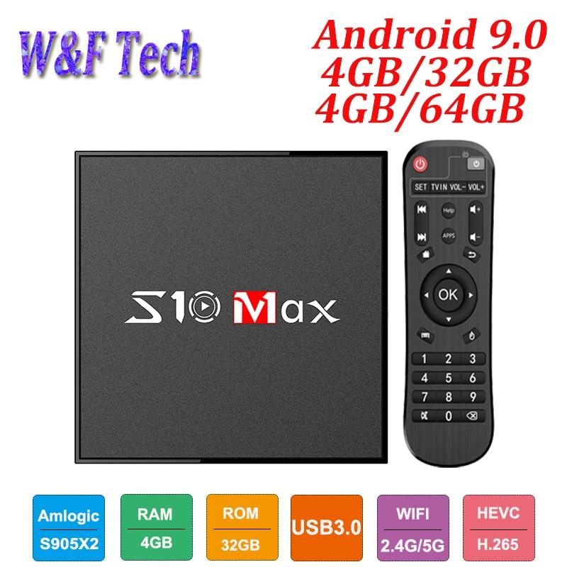 S10 MAX 4GB 32GB Android 9.0 Smart TV BOX Amlogic S905X2 Quad Core décodeur lecteur multimédia Support 5G WIFI BT USB3.0 OTT Box
