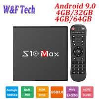 S10 MAX 4GB 32GB Android 9.0 Smart TV BOX Amlogic S905X2 Quad Core-Set-Top-Box Media Player Unterstützung 5G WIFI BT USB3.0 OTT BOX