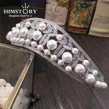 Wave Shape Cubic Zircon CZ Crown Big Round Shinny Imitation Pearl Tiaras Diadema Wedding Hair Accessories Hair Jewelry