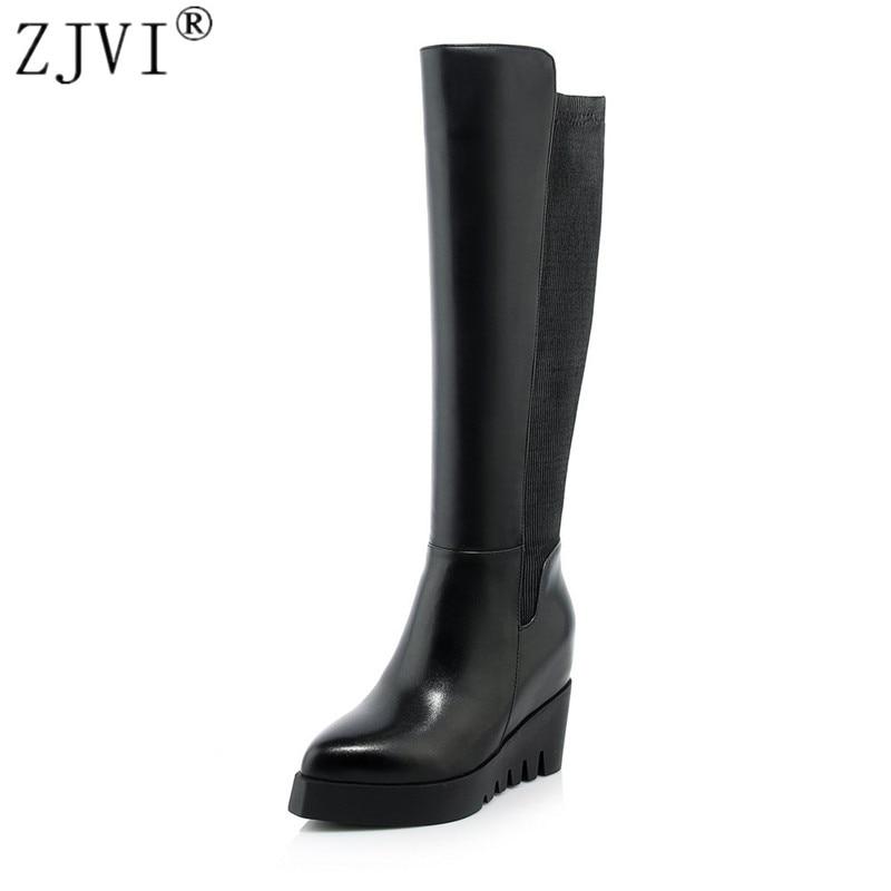 ZJVI femmes mode genou haute bottes femme stretch hiver cuisse haute bottes femmes en cuir véritable bottes 2018 bout pointu chaussures