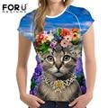 FORUDESIGNS Kawaii Women Clothing 3D Animal Cat Printing Women t shirt Harajuku Summer Funny Customize College Girls Short Tees