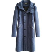 Hooded casual woolen coat men trench coats long sleeves overcoat mens cashmere coat casaco masculinoautumn winter zipper blue цена
