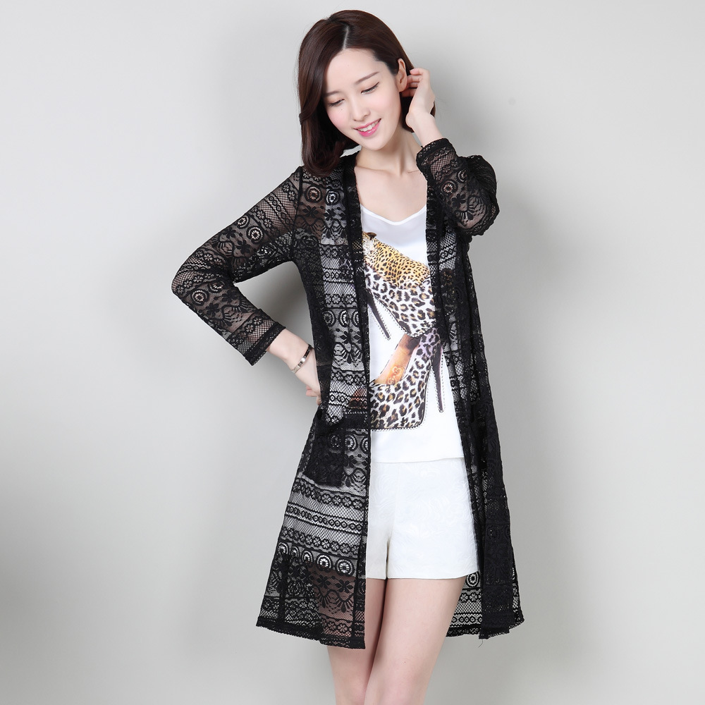 Women's Knitted Coats Lace Cardigans For Woman Summer Long Jackets ...