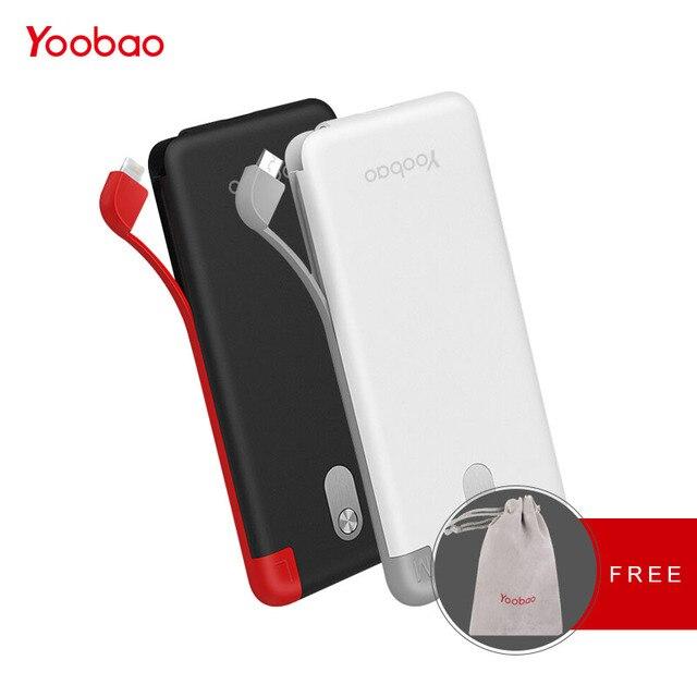 Yoobao 10000 мАч Встроенный кабель Мощность Bank Dual USB Вход внешний Батарея ультра тонкий Портативный Зарядное устройство для мобильного телефона