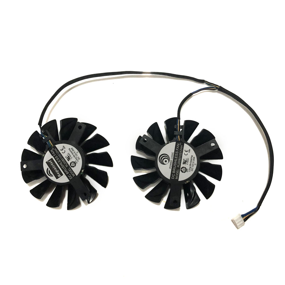 2pcs/lot PLD08010S12HH 75mm DC 12V 0.35A 4Pin Dual Cooler Fan as Replacement For MSI Twin Frozr III Graphics Video Card everflow t128010sm 75mm dc 12v 3pin 0 20a for gigabyte hd 6870 gtx470 gtx480 gtx570 gtx580 hd6970 graphics video card cooler fan