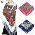 2016 Inverno Nova Moda das mulheres borla Lenço Quadrado Floral Impresso Marca lenços de algodão Cachecol mulheres wraps xailes Feminino 120-2