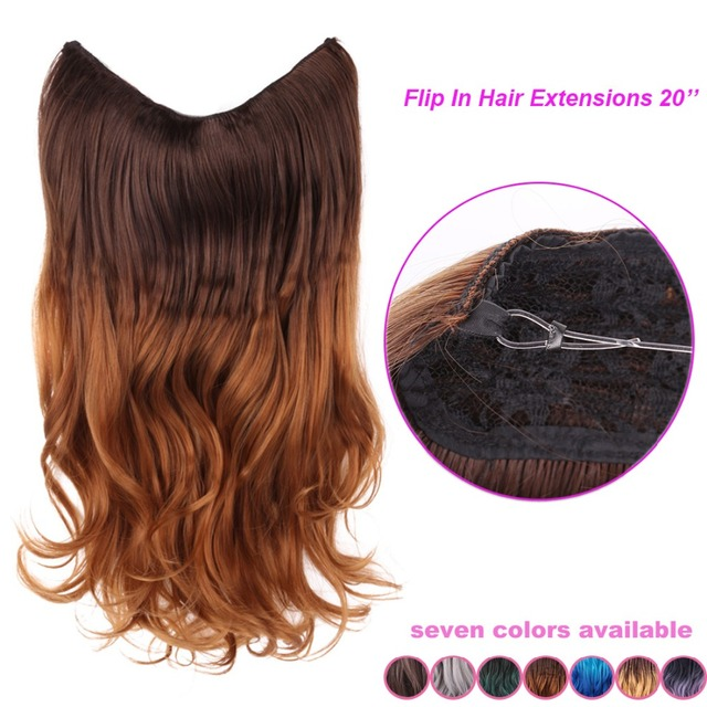 20 Multi Color Fish Line Hair Wave Invisible Halo Synthetic Hair