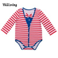 4th of July Long Sleeve Baby Boy Clothes with Bow Tie Cotton Striped Rompers Independence Day Baby Clothing Summer Style