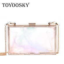 TOYOOSKY Acrylic Transparent Clutch Chain Box Women Shoulder Bags Hard Day Clutches Bags Ladies Wedding Party Evening Purse цена в Москве и Питере
