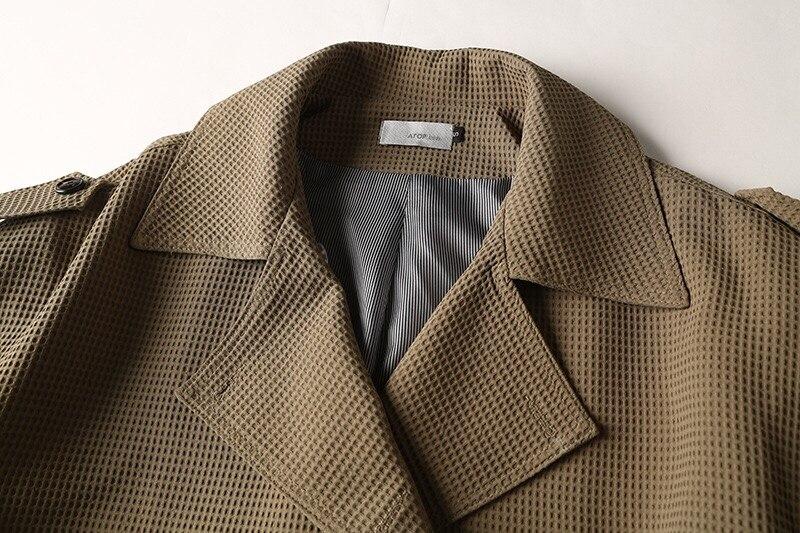 2018 Autumn Winter Original Design Gloria&Grace Vintage Green Fashion Wide-Waisted Rivet Belt Oversize Loose Coat Jacket