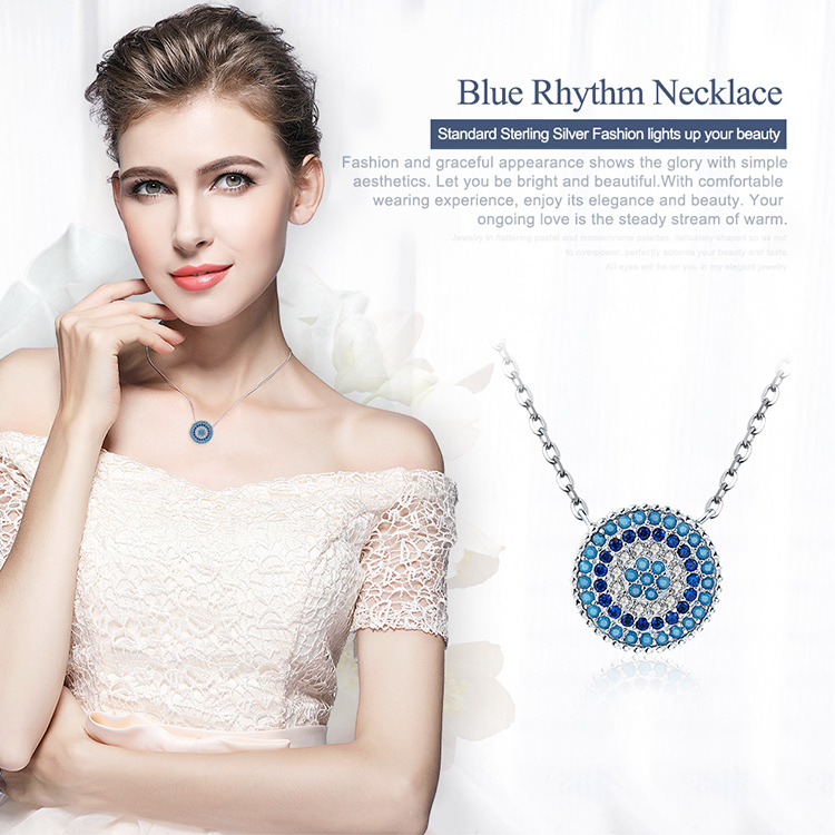 Silver Geometry Round Chic Blue Eye Pendent & Necklace For Women CLOVER JEWELLERY