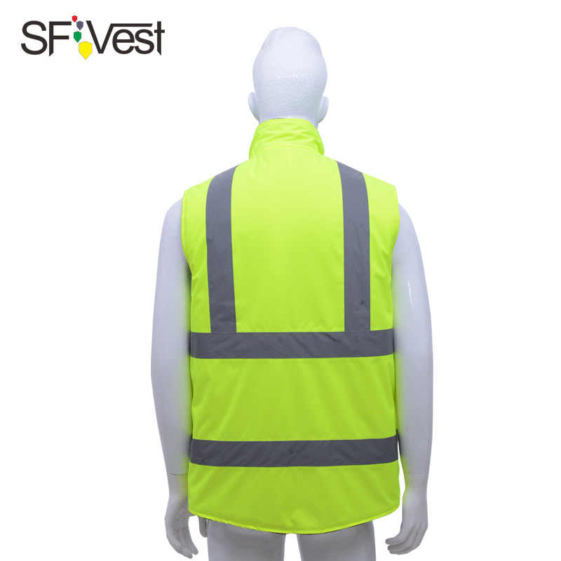 SFVEST Reversible reflective warm jacket vest with 3M tapes Oxford and polar fleece fabric safety waistcoat fluorescent yelow