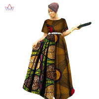 f4f8ad11df35e 2018 Fashion Women Patchwork Ankara Long Tutu Dresses Bazin Riche African  Print Dresses For Women African