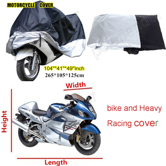 Big Size 265*105*125 centimeter Motorcycle Covering Waterproof Dust proof Scooter Cover UV resistant Heavy Racing bike  Cover