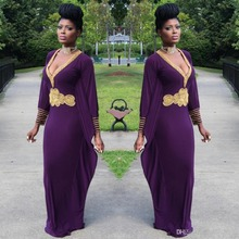 Robe De Soiree 2017 Dark Purple Abendkleider Mit Langen ärmeln Gold Perlen Chiffon V Ansatz Dubai Kaftan Damen Formale kleider