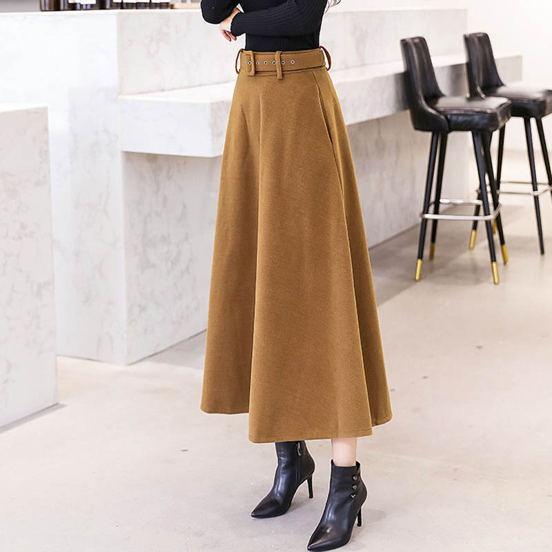 NORMOV 2019 Fashion Winter Women's Wool Skirts With Belt Solid Color Vintage Woolen Skirt Female Streetwear Casual Long 4 Color