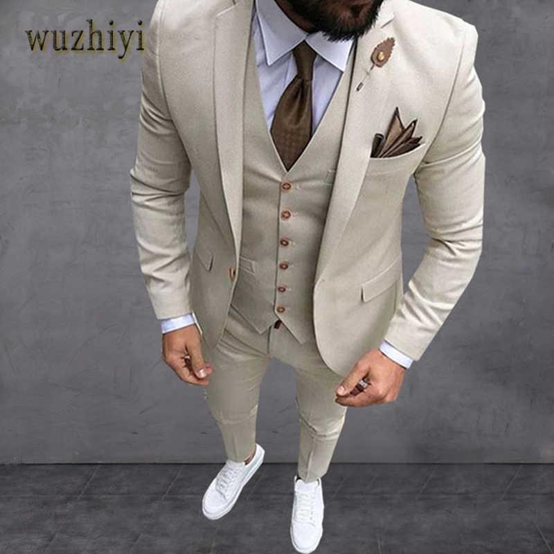 Wuzhiyi 最新スーツコートパンツのデザインスーツスリムフィット 3 ピースタキシードボーイフレンドカスタム結婚式はウエディングブレザー Terno masculi