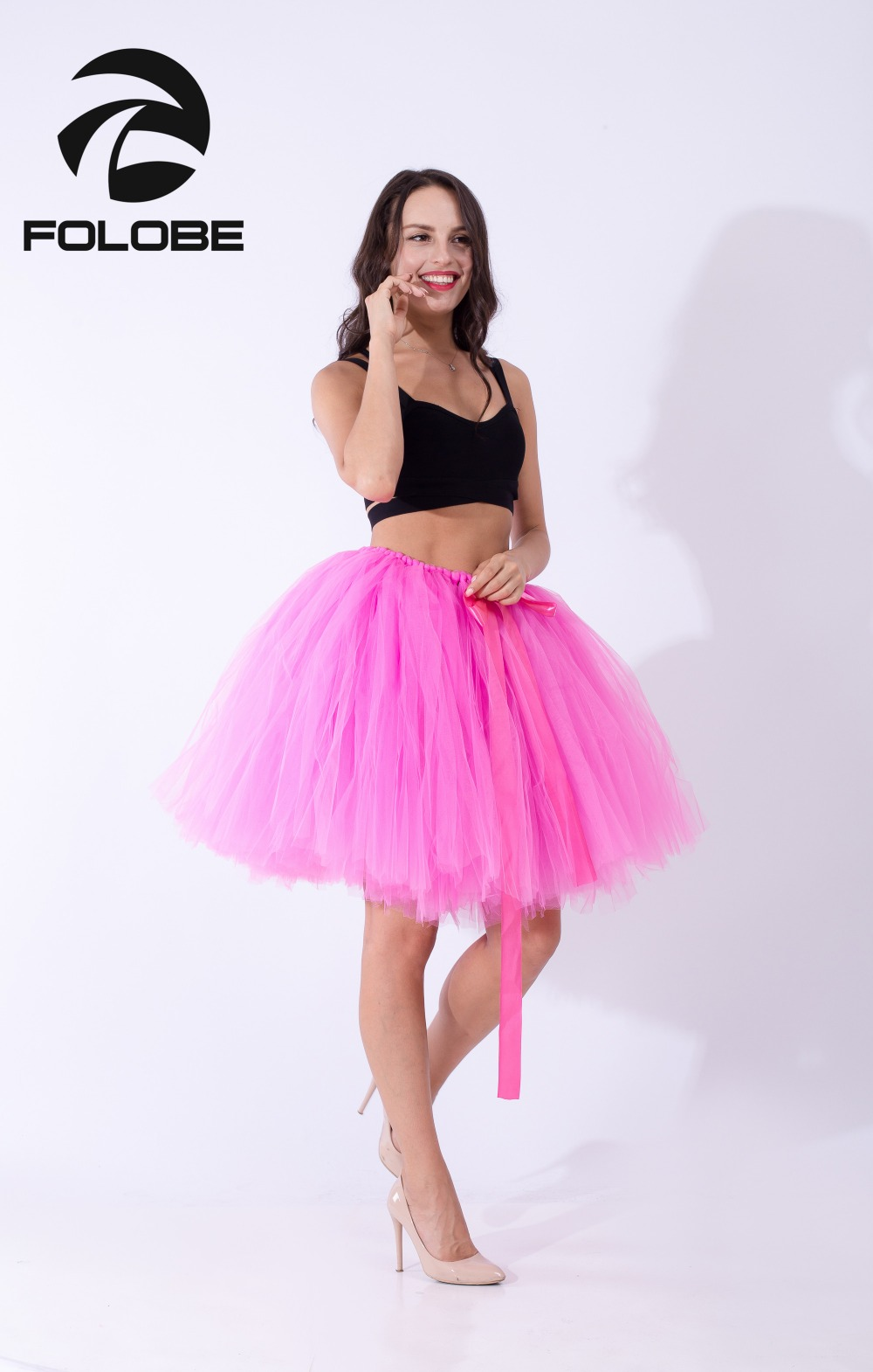 f9906c6a82 Detail Feedback Questions about FOLOBE Hot Pink Handmade Midi Tulle ...
