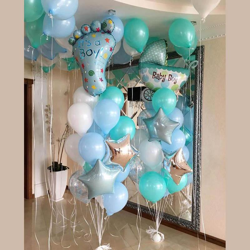 1 zestaw Baby Boy 1 dekoracje urodzinowe nowonarodzony chłopiec urodziny chrzest chrzciny zdobione balony z helem prezenty dla dzieci