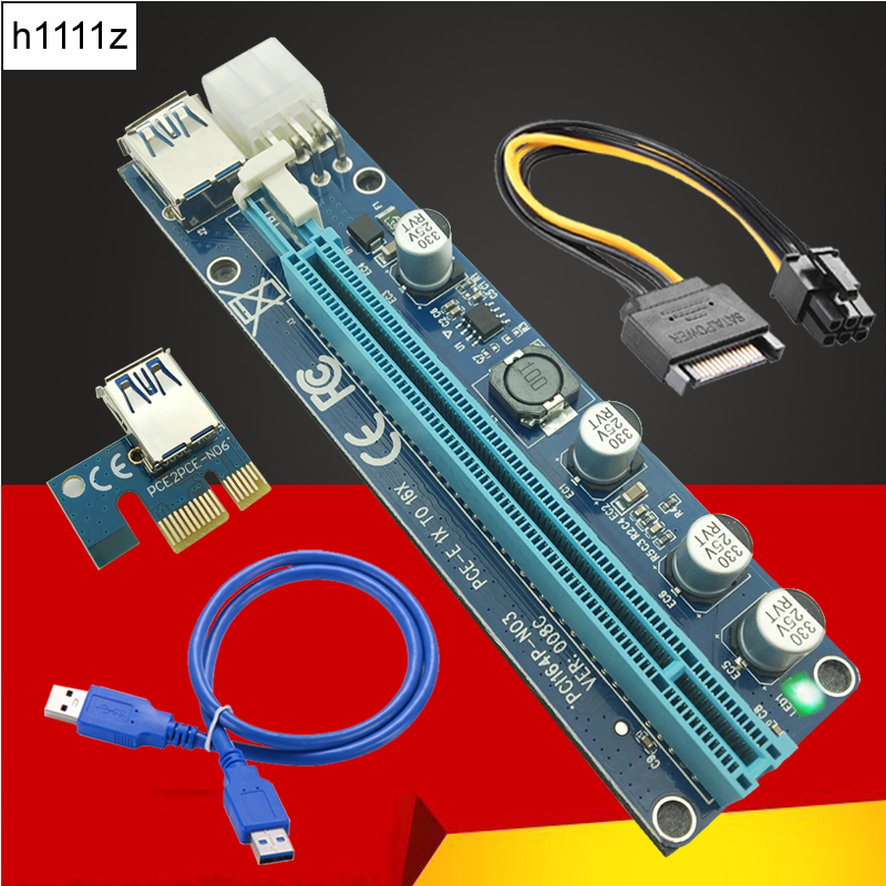 VER008C Molex 6 pin PCIE PCI-E Express 1X to 16X Riser Card Extender 60cm USB3.0 Cable Mining Bitcoin Miner Easy install new aad in card pcie 1 to 4 pci express