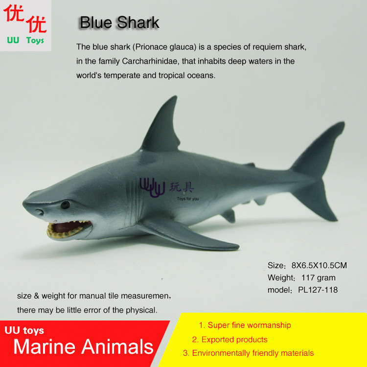 Hot toys Blue Shark Simulation model Marine Animals Sea Animal kids gift educational props (Prionace glauca ) Action Figures easyway sea life gray shark great white shark simulation animal model action figures toys educational collection gift for kids