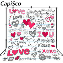 Capisco amour Graffiti saint valentin photographie décors romantique Studio vinyle tissu tissu Photo fond(China)