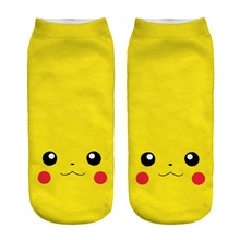 Pokemon Go Sock 3D Printing Sock Cartoon Harajuku Women's Socks Pikachu Charmander Cheap Novelty Low Cut Ankle Funny Socks Meias