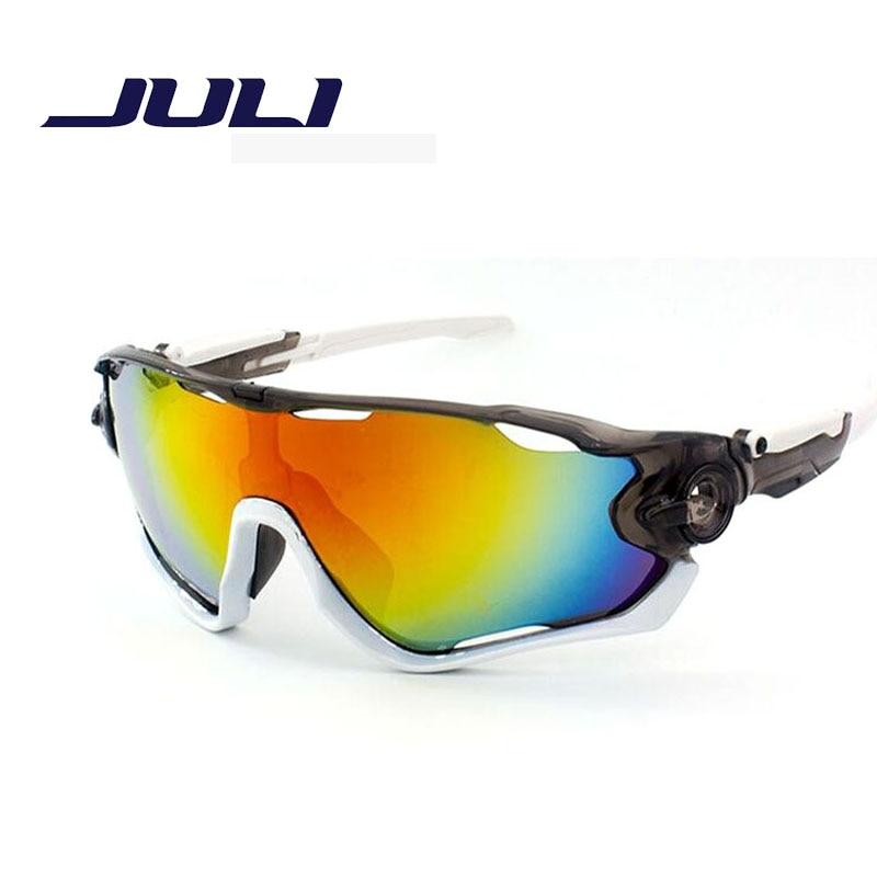 JULI Brand Mens Sport Sunglasses Hiking Eyewear Camping Goggles Reflective Coating HD Lens Sun Glasses UV400