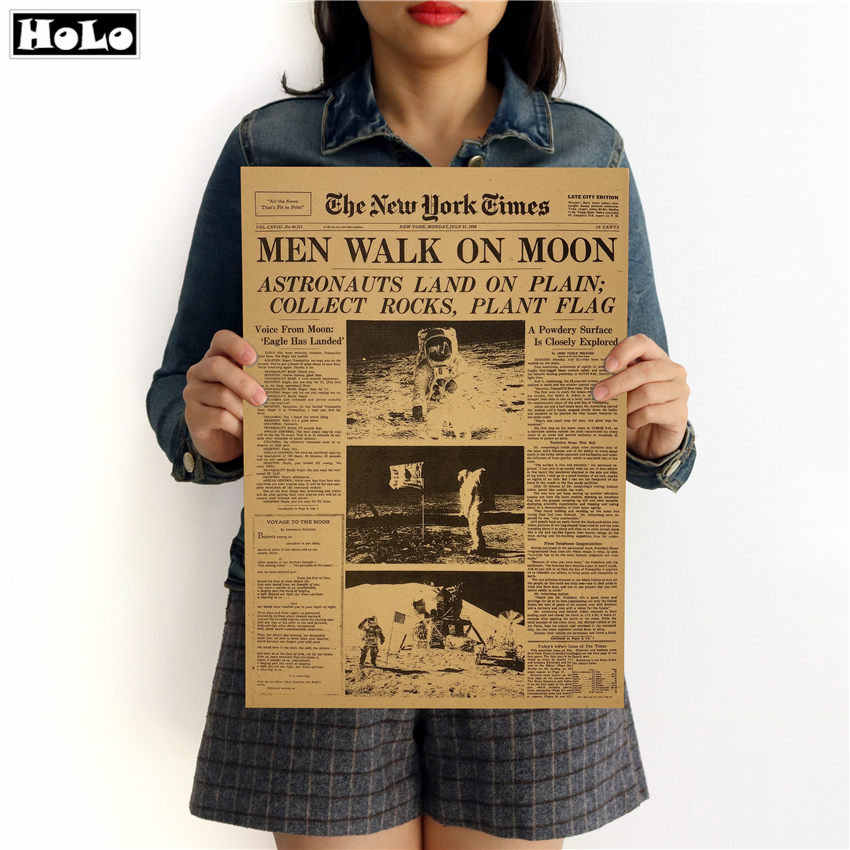 MAN WALK ON THE MOON NEW YORK TIME NEWSPAPER Vintage Poster Decorative Print Painting Classic Walls Paper 42x30cm GGA020