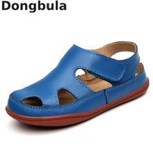 Sandálias infantis de couro legítimo, sandálias masculinas de verão e couro legítimo, antiderrapantes, casuais, esportivas, confortáveis, 2020