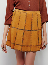 Suede Leather Mini Skirt