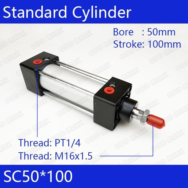 SC50*100 50mm Bore 100mm Stroke SC50X100 SC Series Single Rod Standard Pneumatic Air Cylinder SC50-100 su63 100 s airtac air cylinder pneumatic component air tools su series