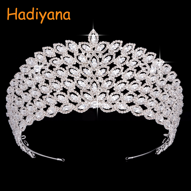 все цены на Hadiyana Fashion Luxury Zinconia Flower Crowns For Bridal Women Tiara New Wedding Hair Accessories Ornament Jewelry Crown BC4443
