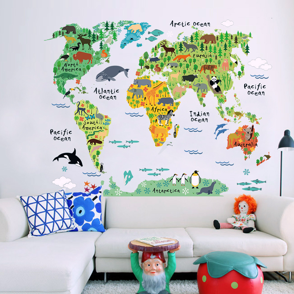 Animal World Map Wall Stickers PVC Extraíble Wall Decal Wallpaper TV Fondo Decoración Poster Art Deco Poster 60 X 90cm