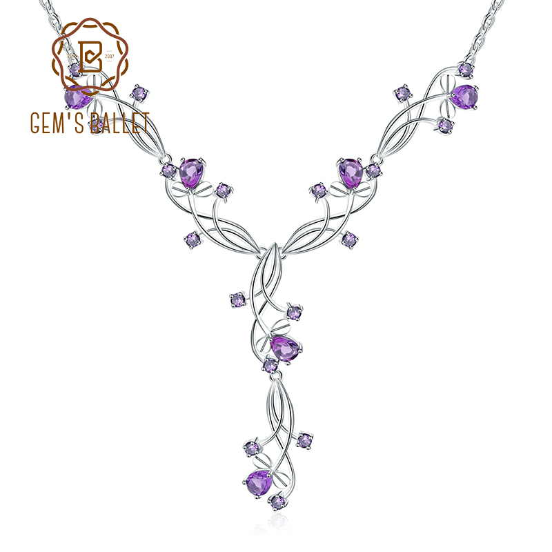 GEM S BALLET 6 39Ct Natural Amethyst Bridal Necklace 925 Sterling Silver Gemstone Wedding Necklace For