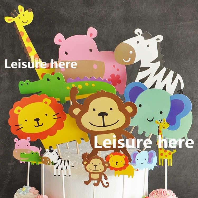 ffdd3ca2f0ef 7 piezas Baby Shower Safari Animal pastel Topper niños cumpleaños ...