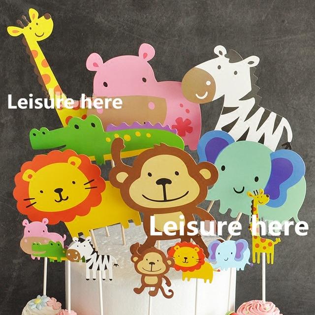7pcs Baby Shower Safari Wildlife Animal Cake Topper Kids Birthday