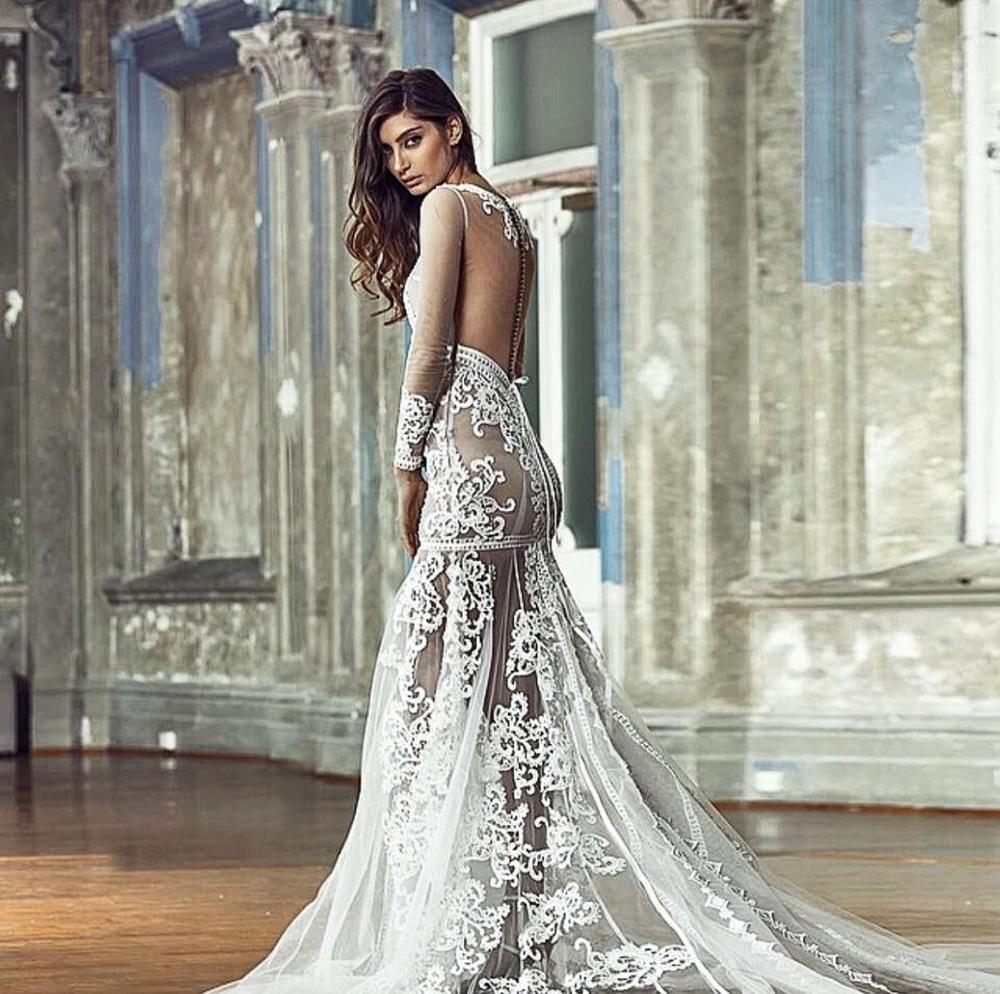 2019 Eslieb robe de mariée sirène fait à la main de haute qualité pierres et beaings sur le corsage à manches longues HA115