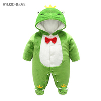 HYLKIDHUOSE Infant Newborn Rompers Hooded Baby Girls Boys Rompers Autumn Winter Children Kids Warm Jumpsuits One