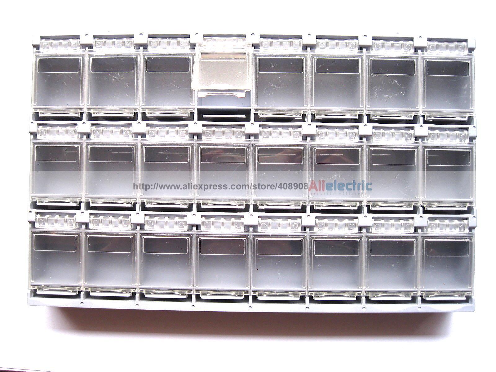 2 Pcs SMT Electronic Component Mini Storage Box 24 Blocks Grey T157 12 pcs smd smt electronic component storage box yellow