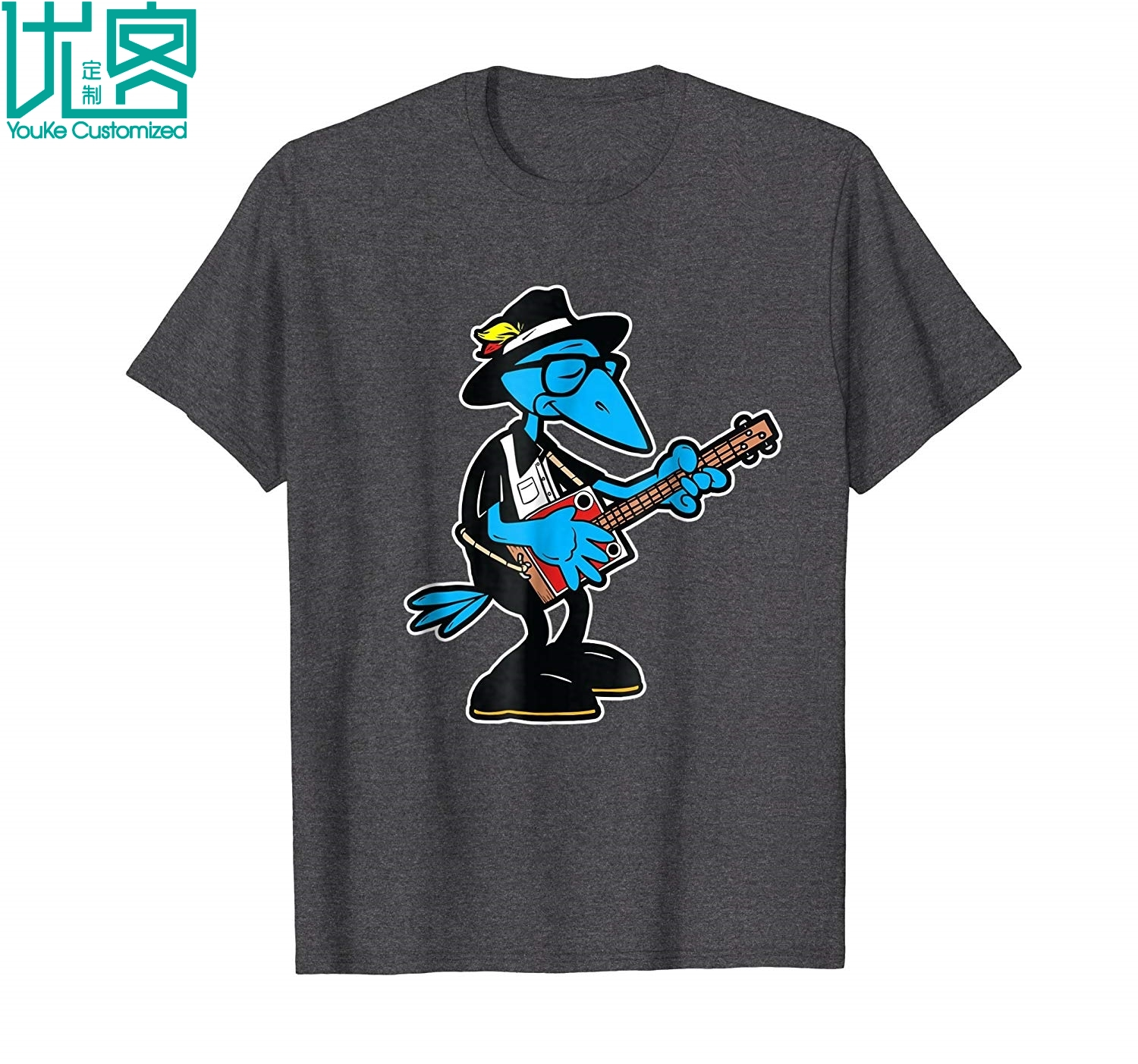 Southern Music T Shirts Cartoon Crow Blues Guitarist Shirt 2019 Summer Men's Short Sleeve T-Shirt image
