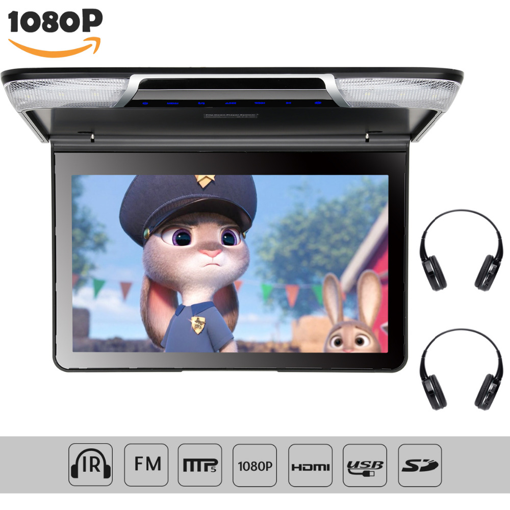 11.6 inch TFT Overhead Ceiling Car Roof Mount Monitor 1920*1080 Flip Down Car Monitor Video Player FM HDMI SD Wireless Headphone image