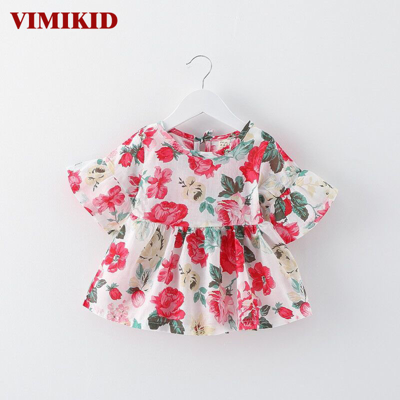 VIMIKID 2017 new summer baby girl dress o-neck half lantern sleeve floral dresses Childrens clothing cotton toddler dress