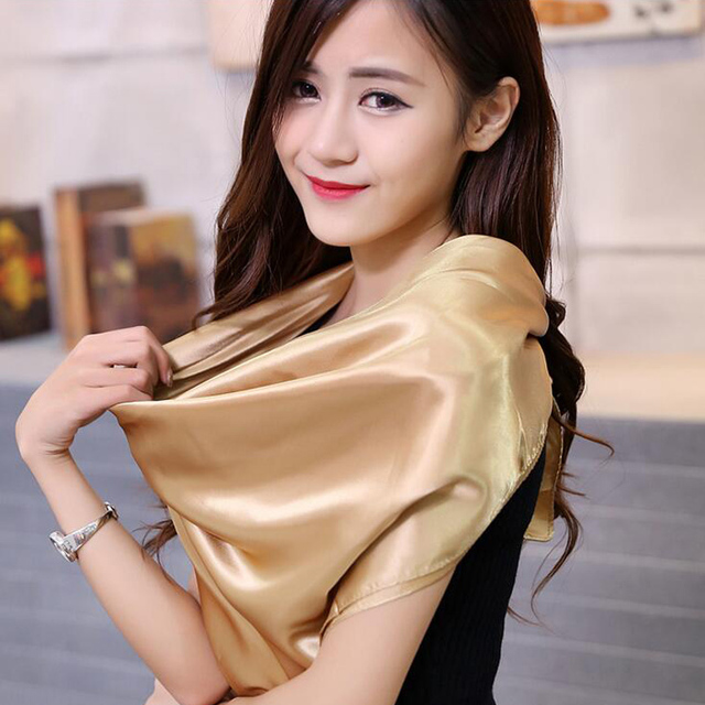 Autumn Summer Solid Color Large Square Silk Women Scarves