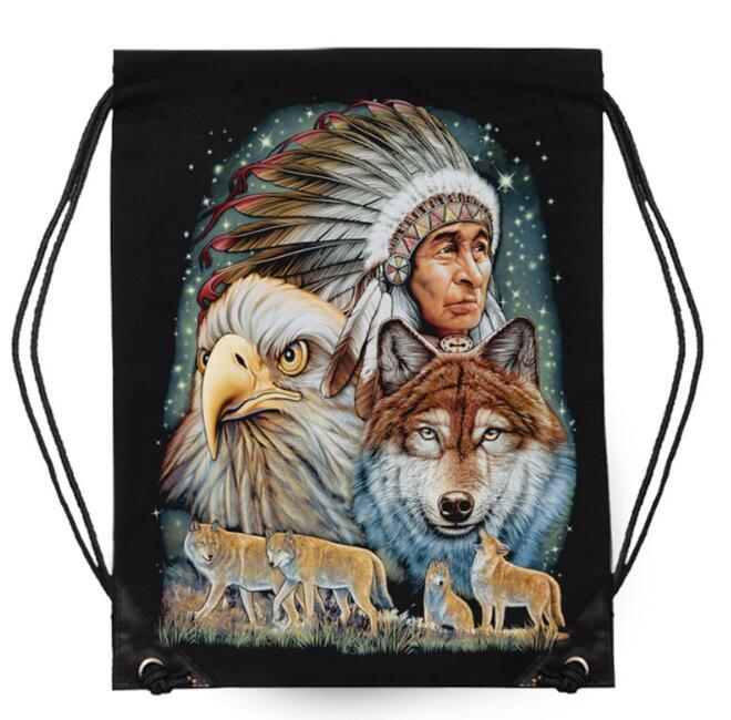 цена на Fashion Backpack Bag Cotton Iron Maiden Killers Animal 3D Printing Travel Softback Man Women Drawstring Bag Mutifunction Backbag