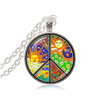 Sign Peace Necklace Pendant Necklace Glass Dome Pendant Jewelry Red Blue Green Yellow Sun Statement Jewellery